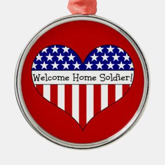 Willkommener Zuhause-Soldat! Rundes Silberfarbenes Ornament