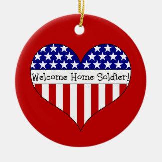 Willkommener Zuhause-Soldat! Rundes Keramik Ornament