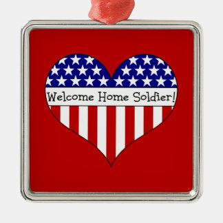Willkommener Zuhause-Soldat! Quadratisches Silberfarbenes Ornament