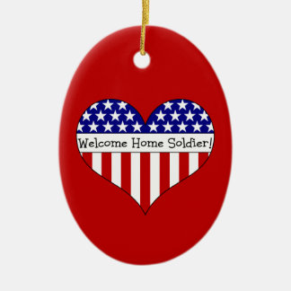 Willkommener Zuhause-Soldat! Ovales Keramik Ornament