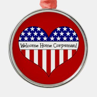 Willkommener ZuhauseCorpsman! Rundes Silberfarbenes Ornament