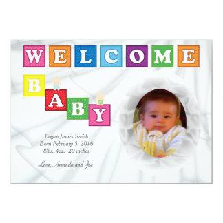 Willkommenes Baby blockiert 12,7 X 17,8 Cm Einladungskarte