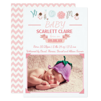 Willkommenes Baby mit Foto - Geburts-Mitteilung Karte