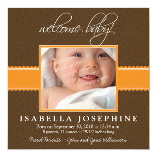 Willkommenes Baby! Orange Band-Geburts-Mitteilung Quadratische 13,3 Cm Einladungskarte