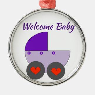 willkommenes Baby Silbernes Ornament