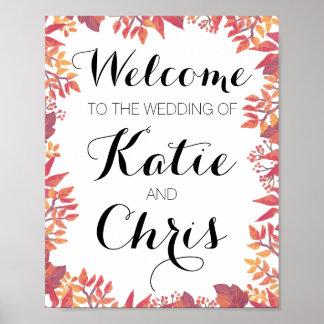 Willkommenes Hochzeit im Herbsts-Zeichen Poster