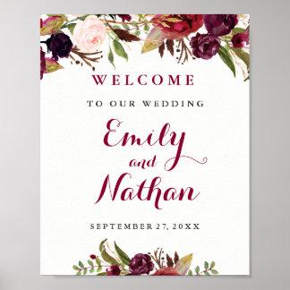 Willkommenes Hochzeits-Zeichen-Burgunderroter Poster