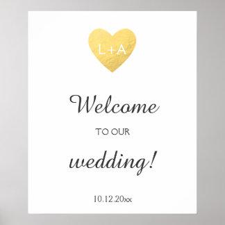 Willkommenes Hochzeitszeichen, Imitatgoldherz, Poster