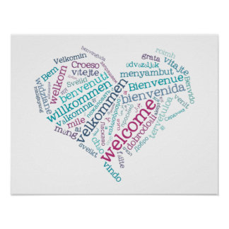 Willkommenes Plakat des Herz-(viele Sprachen)