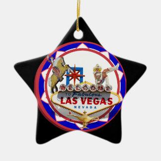 Willkommenes Zeichen-roter u. blauer Poker-Chip Keramik Stern-Ornament