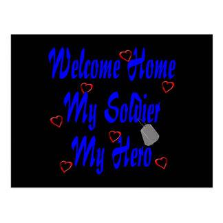 Willkommenes Zuhause mein Soldat mein Held Postkarte