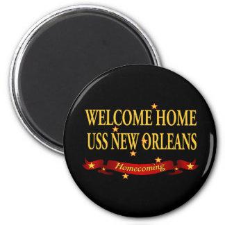 Willkommenes Zuhause USS New Orleans Runder Magnet 5,7 Cm