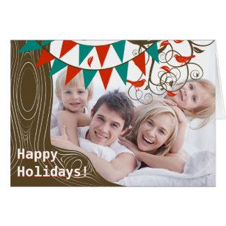Wimpel-Baum-glückliche Feiertags-Karte mit Ihrem Karte
