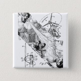 Wind angetrieben quadratischer button 5,1 cm