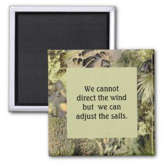 Wind- u. Segelzitat mit Erdtonrahmen Quadratischer Magnet