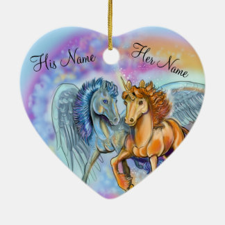 Wind-und Flammen-Einhorn Pegasus~ornament Keramik Ornament