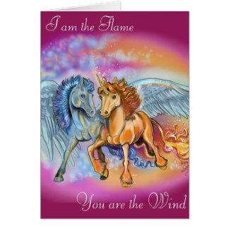 Wind-und Flammen-romantische Einhorn-Pegasus-Karte Karte