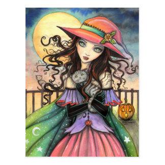 Winde der Halloween-Hexetabby-Katzen-Kunst Postkarten