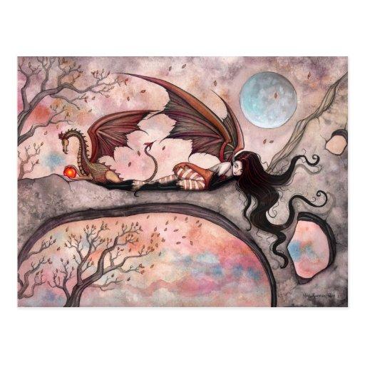Winde Herbst-der feenhaften Drache-Postkarte