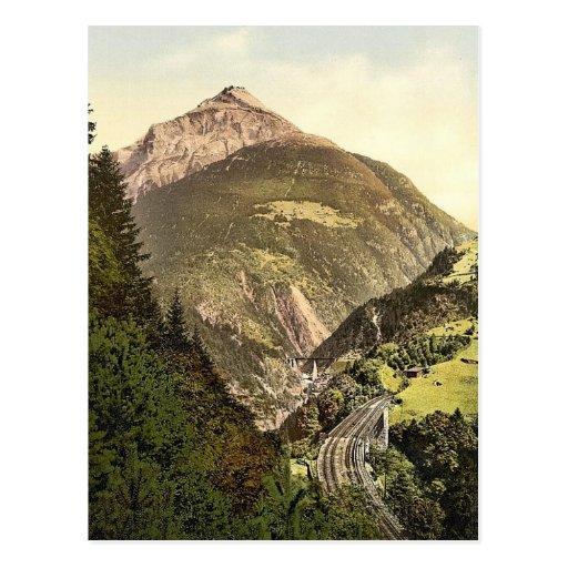 Windgelle, Eisenbahn St. Gotthard, die Schweiz Postkarte