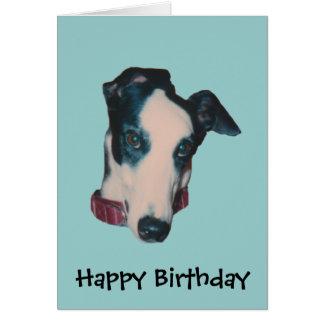 Windhund-Gesichts-Hundegeburtstags-Karte Grußkarte