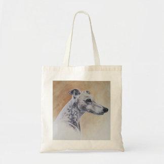 Windhund-Hund gemalt in der Wasserfarbe Budget Stoffbeutel