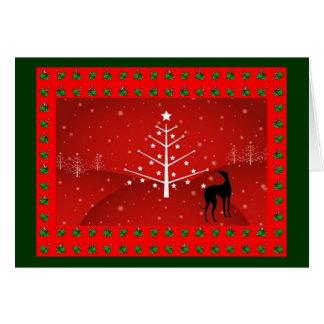 Windhund im Weihnachtsglühen Karte