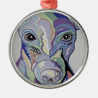Windhund in den Denim-Farben Silbernes Ornament