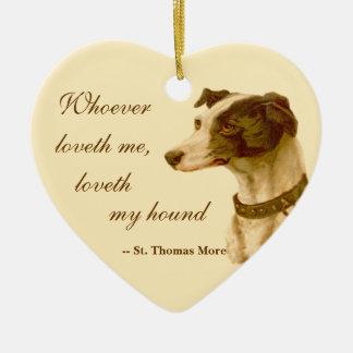 Windhund-Porträt/berühmtes St Thomas mehr Zitat Keramik Herz-Ornament