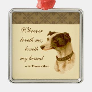 Windhund-Porträt/berühmtes St Thomas mehr Zitat Silbernes Ornament