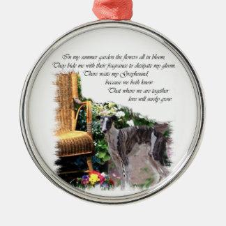 Windhund-Sommer-Garten Silbernes Ornament