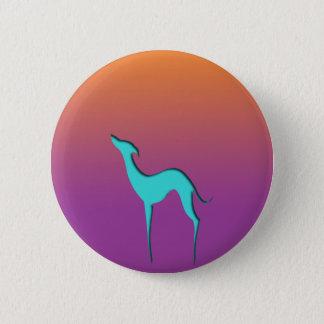Windhund/Whippet blauer orange violetter Knopf Runder Button 5,7 Cm