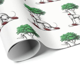Windhund Whippet mit Baum-heraldischem Geschenkpapier