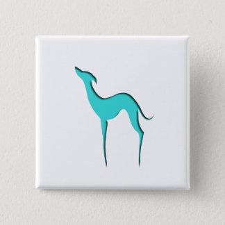 Windhund-/Whippettürkis-Silhouette Knopf Quadratischer Button 5,1 Cm