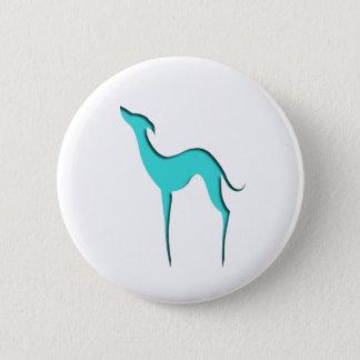 Windhund-/Whippettürkis-Silhouette Knopf Runder Button 5,7 Cm