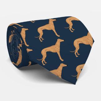 Windhundfarbillustration auf dunkelblauem krawatte