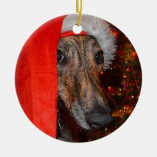 Windhundlurcher-Sankt-Weihnachten Keramik Ornament