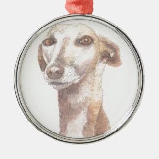 Windhundporträt Silbernes Ornament