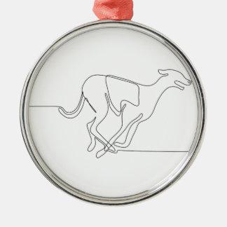 Windhundrennen-ununterbrochene Linie Silbernes Ornament