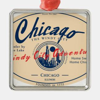Windige Stadt Chicagos Silbernes Ornament