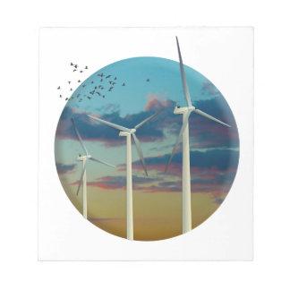 Windkraftanlagen malten Himmel Notizblock