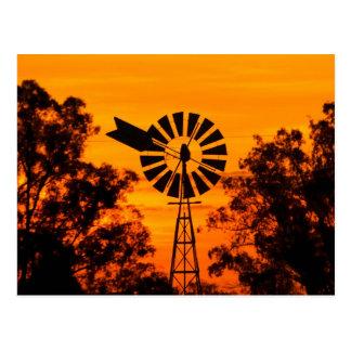 Windmühle am Sonnenuntergang, Australien Postkarte