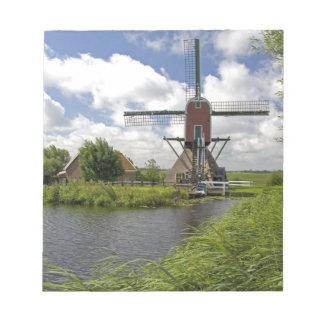 Windmühle entlang einem Kanal östlich von Leiden Notizblock