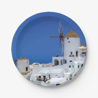Windmühle in Oia, Santorini, Griechenland Pappteller