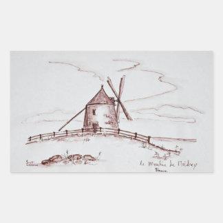 Windmühle | Pontorson Le Moulin de Moidrey Rechteckiger Aufkleber