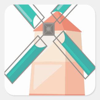 Windmühle Quadratischer Aufkleber