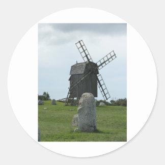 Windmühle Runder Aufkleber