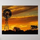 Windmühle und Sonnenuntergang, William-Nebenfluss, Poster