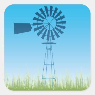 Windmühlen-Aufkleber Quadratischer Aufkleber