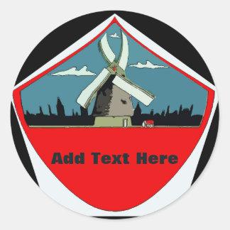 Windmühlen-rote Runde addieren Text Runder Aufkleber